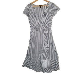 4/$25 ALYX Nautical Navy Stripe Faux Wrap Dress